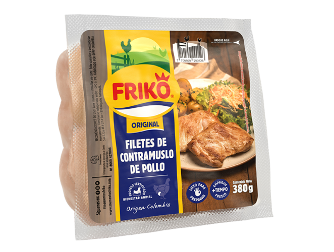 Filetes de contramuslo de pollo 380 gramos Friko