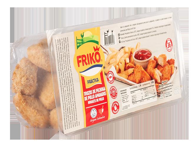 Trozos de pollo apanados tipo nuggets