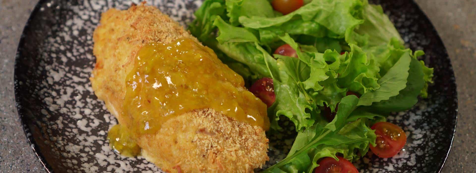 Receta de Cordon blue con salsa de lulo y hierbabuena