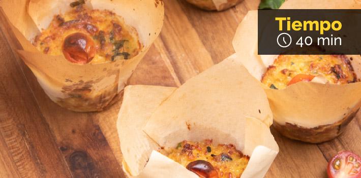Receta de Muffins de pollo, espinaca y queso