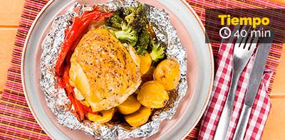 Paquetitos de pollo y vegetales